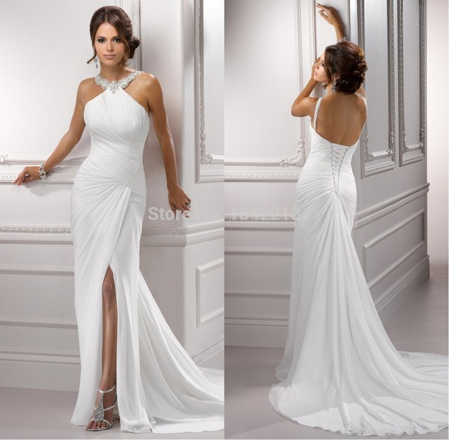 2017 Slip Side Halter High Quality Backless Chiffon Summer Beach Wedding Dress Mermaid Style Bridal Gowns