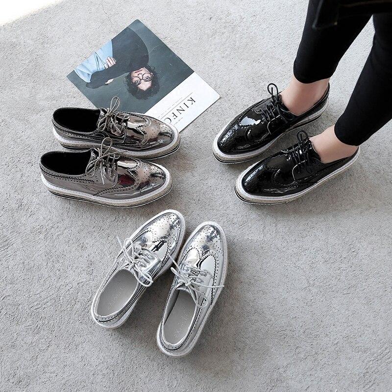 À forme Lacets Chaussures Livraison Espadrille Directe Plats silver Gun Plate black Femmes Oxfords Pour Creepers Mocassins HPYXw4q