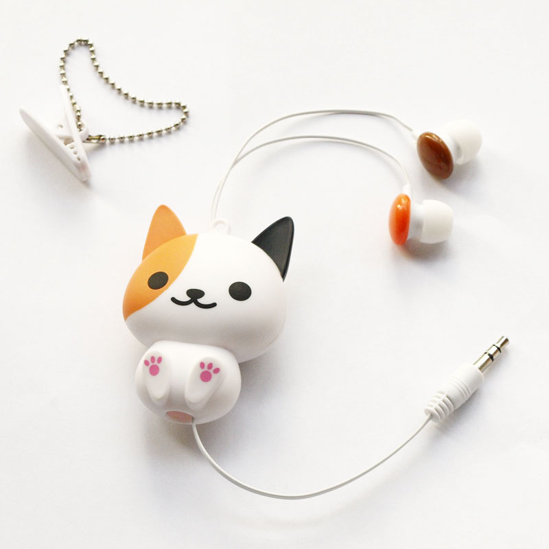 Kawaii Cat Dog Cartoon Retractable Flexible Earphone For Mp3 Mp4 Girl Backpack Decor Easy Carry