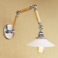 Glass Loft Industrial Wooden Wall Lights Fixtures Edison Swing Long Arm Wall Lamp Vintage LED Appliques Murale Pared