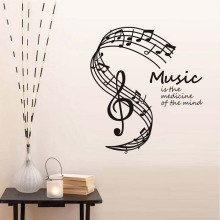 DCTOP Music Is The Medicine Of Mind Wall Stickers Musical Notes Stave Home Decor Living Room Note Decals Hot