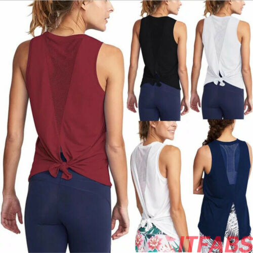 Women Sport Vest Fitness Tank Top Athletic Undershirt Yoga Gym T-Shirt Quick Dry