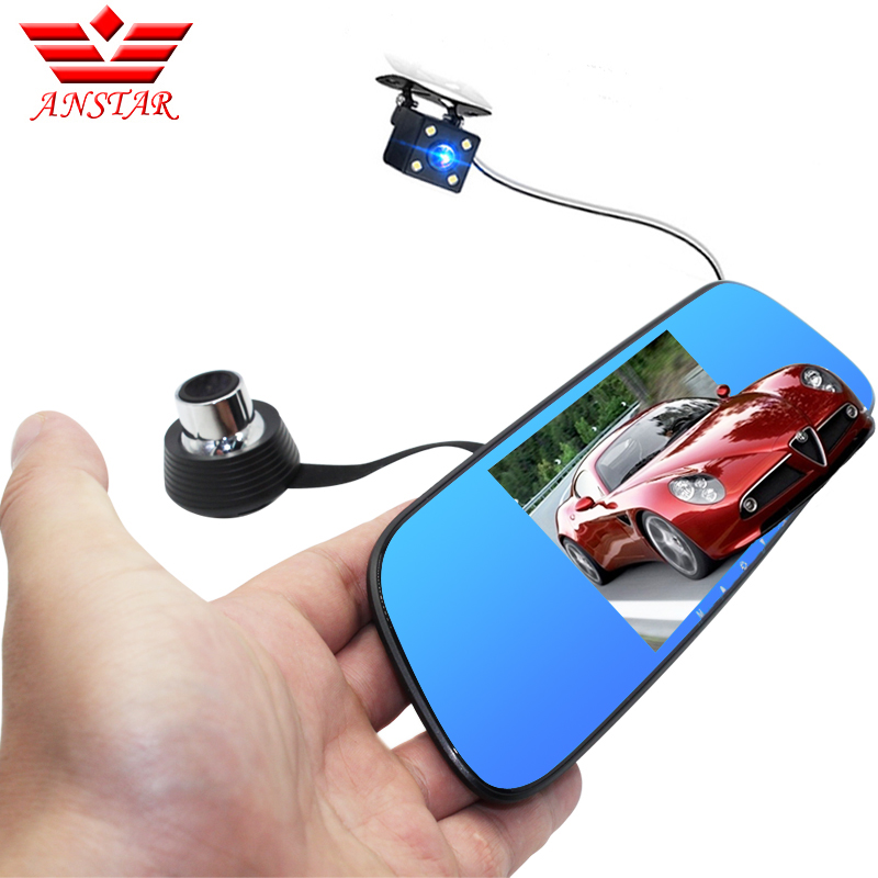 ANSTAR 5 Car DVR Camera Dual Lens Rearview Mirror Video Recorder FHD 1080P Automobile DVR Mirror Dash Cam Parking Assistance 5 inch car camera dvr dual lens rearview mirror video recorder fhd 1080p automobile dvr mirror dash cam
