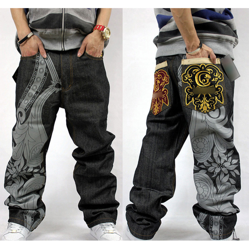 2017 Summer Hip Hop Rap Baggy Jeans For Mens Embroidery Pants Fashion Denim Male Loose Jeans Dance Straight Trousers Full Length