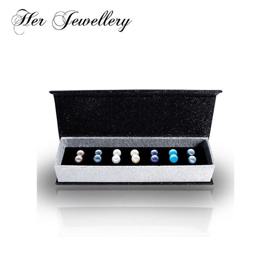 Ses bijoux 7 couleur perle boucles d'oreilles ensemble tendance produit 2018 fait avec perle de Swarovski HE0216
