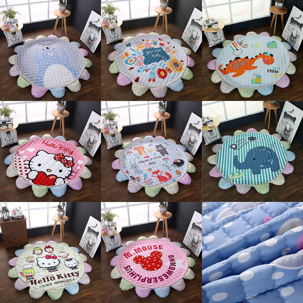 все цены на Animals Elephant Bear Fox Crocodile Flower Shape Baby Play Mats Crawling Blanket Carpet Nordic Style Kids Room Home Decor Props