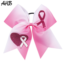 AHB 7 Large Hair Bows Breast Cancer Awareness Cheer with Elastic Rubber Band Rope Cheerleader Girls Headwear