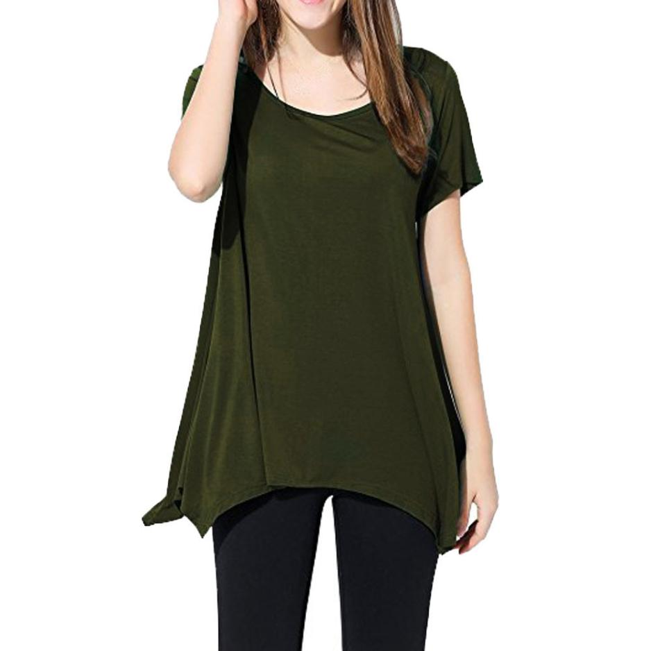 9c76d81f1 Womens Casual Swing Tunic Tops Loose Fit Comfy Flattering T Shirt blusas  camisetas mujer verano 2018 crop top beach tunic-in T-Shirts from Women's  Clothing ...