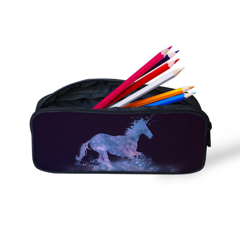 Newest Pencil Bag For Student Boys Girls Unicorn Pattern Causal High Quality Zipper Large Capacity Canvas Pen Box Cosmetic Bag