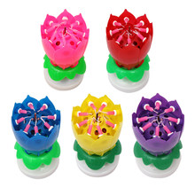 Creative Birthday Candles Beautiful Musical Lotus Flower Happy Birthday Party Gift Rotating Lights Decoration 8 Candles Lamp(China)