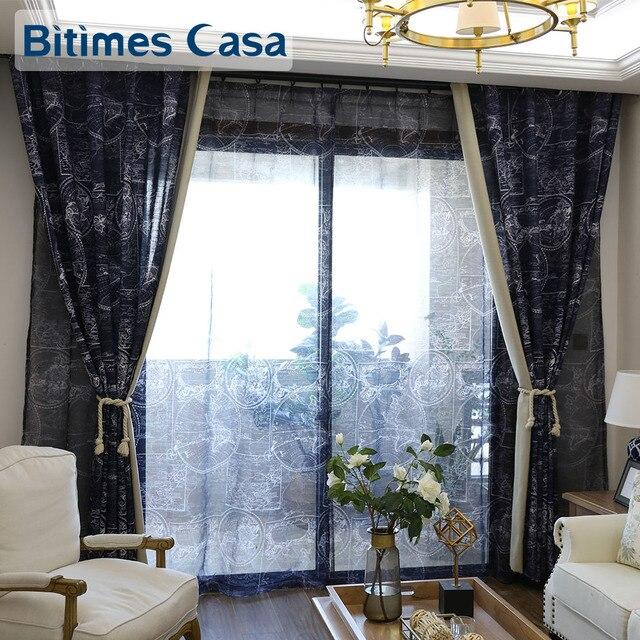 carte du monde impression windows rideau rideaux bleu. Black Bedroom Furniture Sets. Home Design Ideas