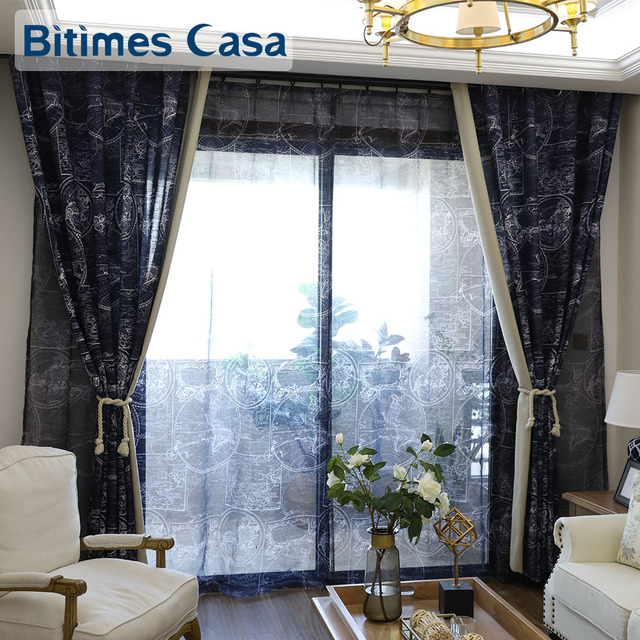 weltkarte druck fenster vorhang vorhänge marineblau für wohnzimmer ... - Grose Fenster Wohnzimmer
