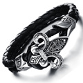 Rock band braided Leather Bracelet glamorous retro big men Jewelry Gothic style Men's Stainless Steel Bracelet