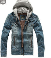 2013 Winter Fashion Slim Men Washed Plus Velvet Warm Hood Denim Jacket Jeans Thickening Male Outerwear