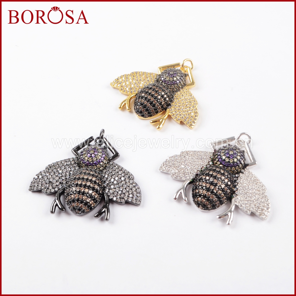BOROSA 5PCS Fashion Multicolor Beetles shape Pendants Small Bugs Pets CZ Beads Insect Charms for Earrings DIY Jewelry WX839 ...