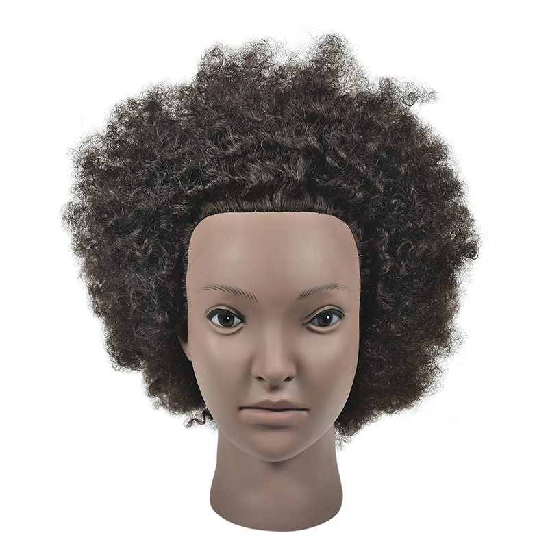 Black Afro Mannequin Head Hairdressing Training Head African American Hairdressing Dummy Head Salon Practice Styling Braiding