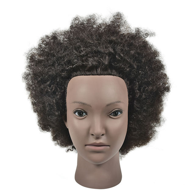"Free Shipping Afro Natural Real Human Hair Mannequin Training Head 10"" 100% Human Hair Hairdressing Head Dolls for Hairdresser"