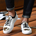 Spring New Luxurious Lace-up Skate Shoes Leisure Breathable Metal Sequins Leopard Head Shoes British Style Sapato Masculino