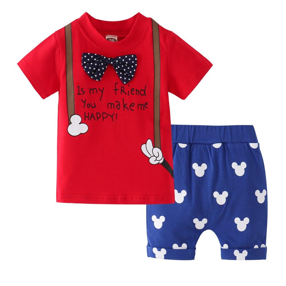 2 Stücke Neue Sommer Baby Jungen Kleidung Set Rot Kurzarm Brief Tops T-shirt + Shorts Sets Jungen Outfits Kleidung