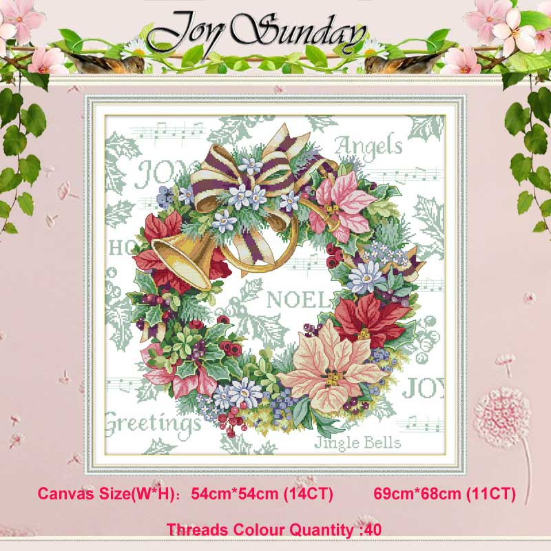 Holiday Wreath Painting Counted 11CT 14CT Cross Stitch Set DIY DMC Flower Cross-stitch Kit Embroidery Needlework Home Decor