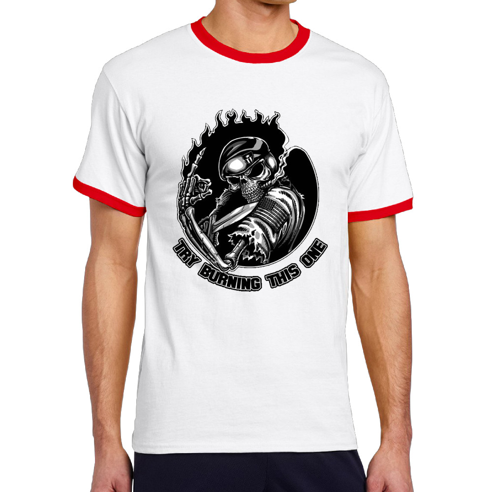 Try Burning This One Cotton Print O-Neck Men Camiseta Funny Die Dye Comfortable Short T Shirt
