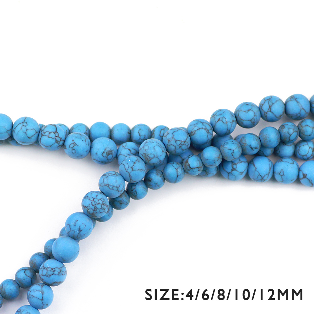 WLYeeS Natural Matte Blue Calaite beads Stone Round ball Loose beads 4 6 8 10 12MM for women fashion Jewelry bracelet making DIY in Beads from Jewelry Accessories