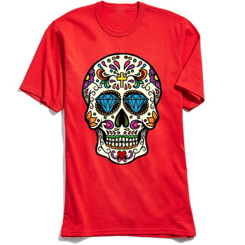 Mexican Skull T-shirt New Design Men T Shirt O Neck Short Sleeve All Cotton Tops TShirt Custom Tee-Shirt Top Quality Red Tees mardi gras princess new orleans nola bouron street party costume womens t shirt short sleeve o neck t shirt homme top tee