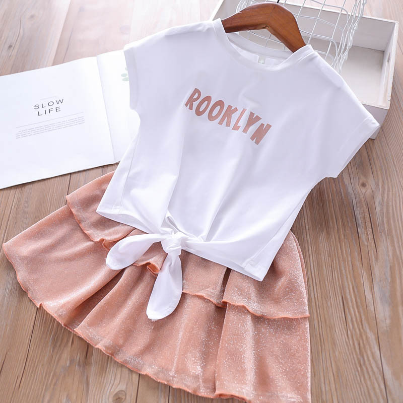 Wholesale Girls Sets Letter T Shirt and Skirts Summer 2019