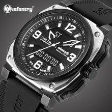 Мужские часы от ведущего бренда, Роскошные Водонепроницаемые 100 м аналоговые цифровые военные часы, мужские тактические квадратные спортивные часы для мужчин
