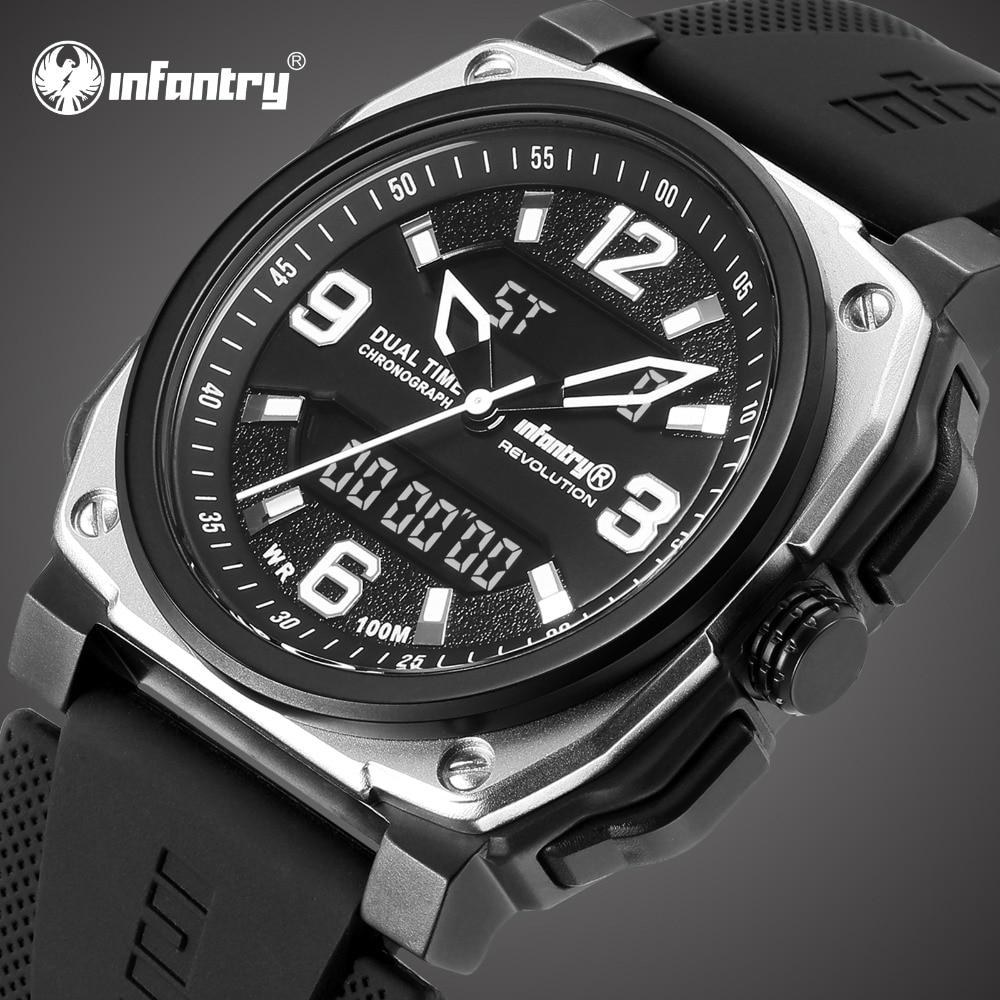 Для пехоты мужские часы лучший бренд класса люкс Водонепроницаемые 100 м аналоговые цифровые военные часы мужские тактические квадратные спортивные часы для мужчин