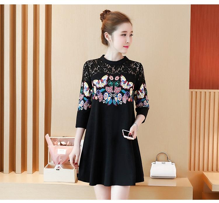 XXXXLPlus Size Summer Women Lace Dress Black Butterfly Print Sexy Vintage Party Beach Maxi Dresses 3/4 Sleeve O-neck Vestido 9