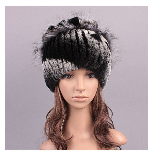 2017 New Cute Womens Real Mink Fur Hats with Fox Fur Trimming Stripe Design Girls Winter Fashion Beanie LX00818