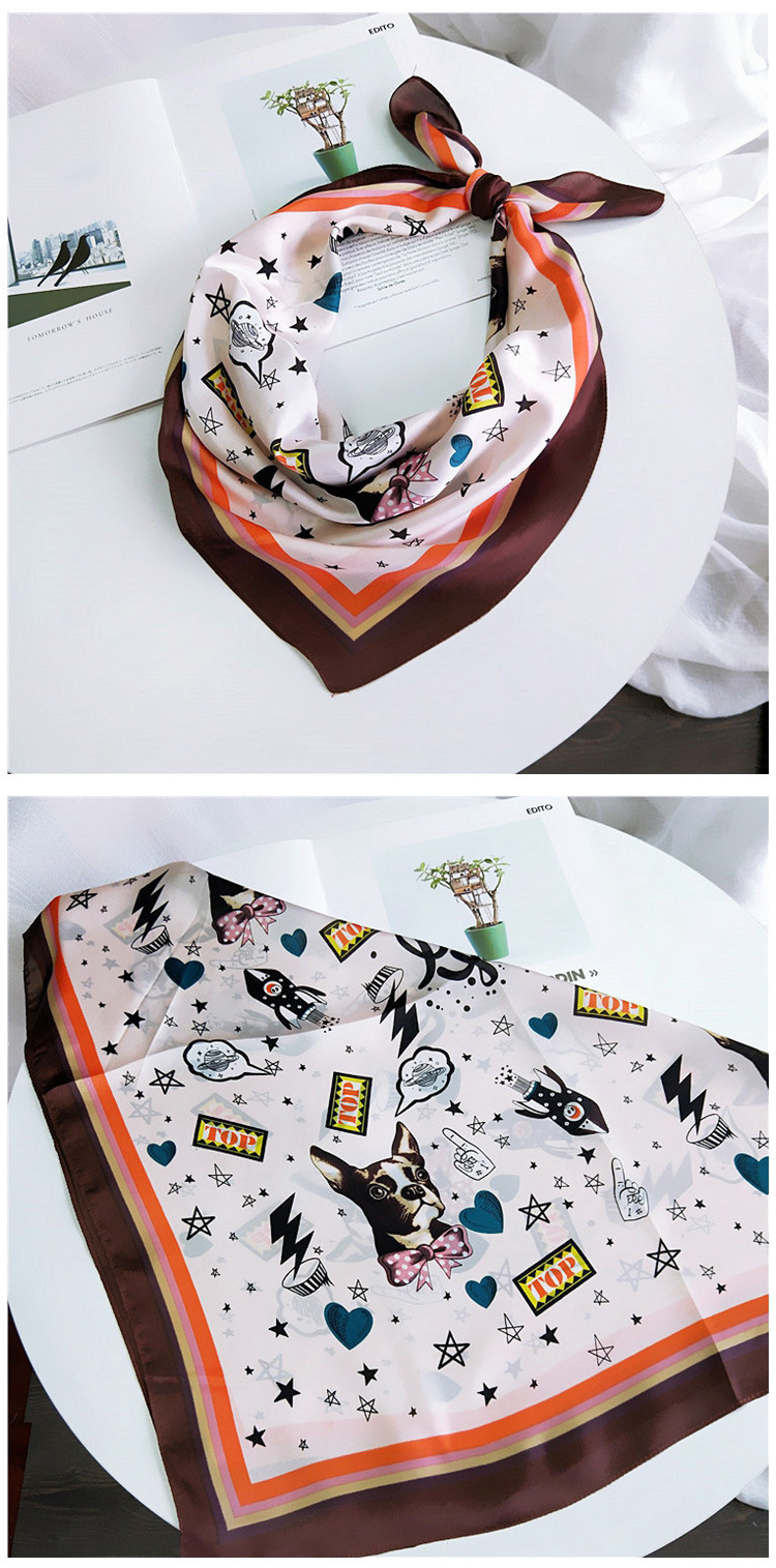 HTB1OvDKLwTqK1RjSZPhq6xfOFXaz - 70*70cm Fashion Kerchief Cartoon Scarf For Women Animal Print Hair Scarf Female Square Neckerchief Cute Headband Scarves
