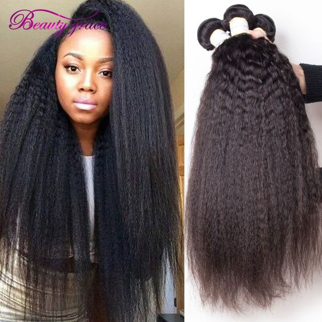 Mongolian Kinky Straight Hair Weave 3 Bundle Deals Cheap Yaki Human