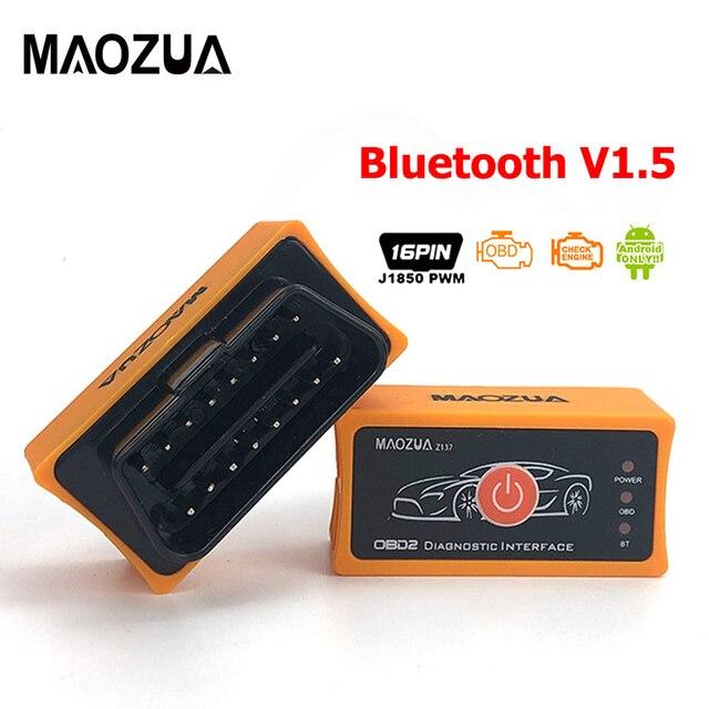 Maozua Z137บลูทูธ Elm327 OBD2รถเครื่องมือวินิจฉัย Super Mini ELM327บลูทูธ V1.5 OBD 2เครื่องสแกนเนอร์รหัส Reader PK AD10 Icar2