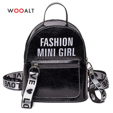 Wooalt 2019 New Fashion Women Backpack Mini Travel Bags Silver Laser PU Leather Letters Print Female Girls Shoulder Bag