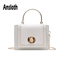 Ansloth Solid Color Shoulder Bag Women Metal Handle Crossbody Bag Buckle Messenger Bag Lady Small Flap Bag Female Handbag HPS594 недорого