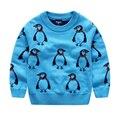 2017 Crianças Blusas Meninos Camisola de Malha Bonito do Pinguim do Inverno Infantil Camisola Caçoa a Roupa
