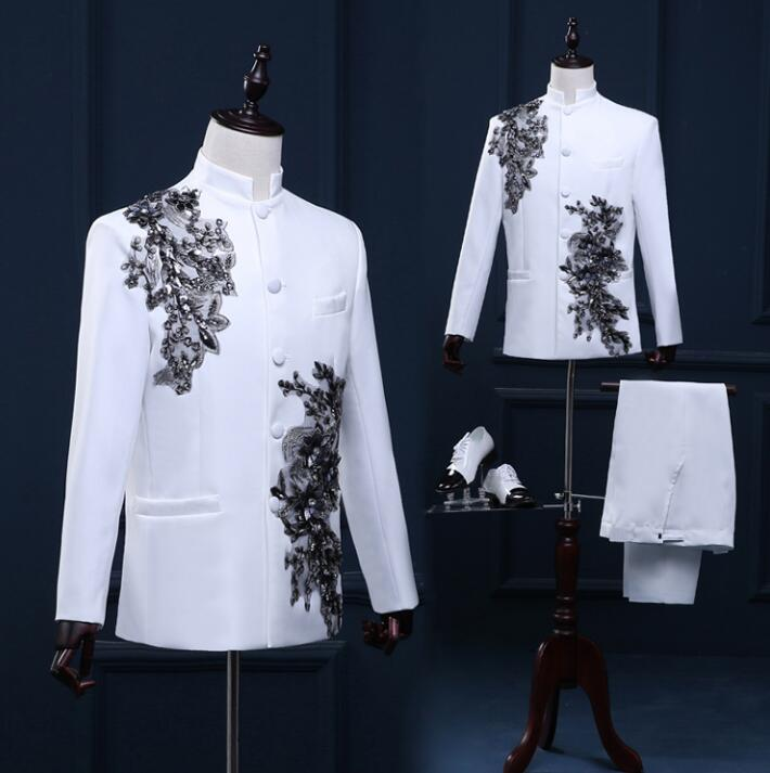 Stand Collar Men Blazer Designs Chinese Tunic Suit Stage Costumes For Singers Men Blazer Dance Clothes Jacket Style Dress White