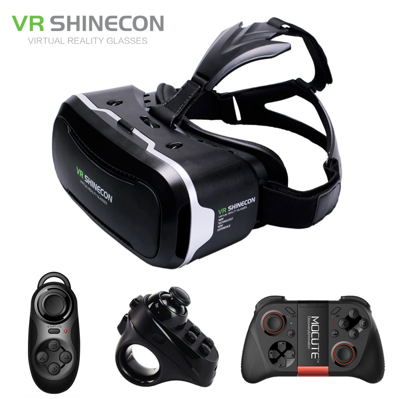 цена на Googles Cardboard 3D Virtual Glasses Shinecon VR 2.0 ii Virtual Reality 3 d VR Headset Helmet Head Mount box + Remote Control