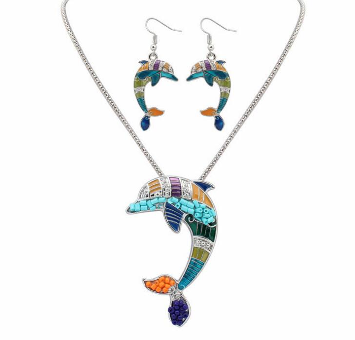 Poem snow Fashion Naughty Dolphin Earrings Set Alloy Necklace Jewelry