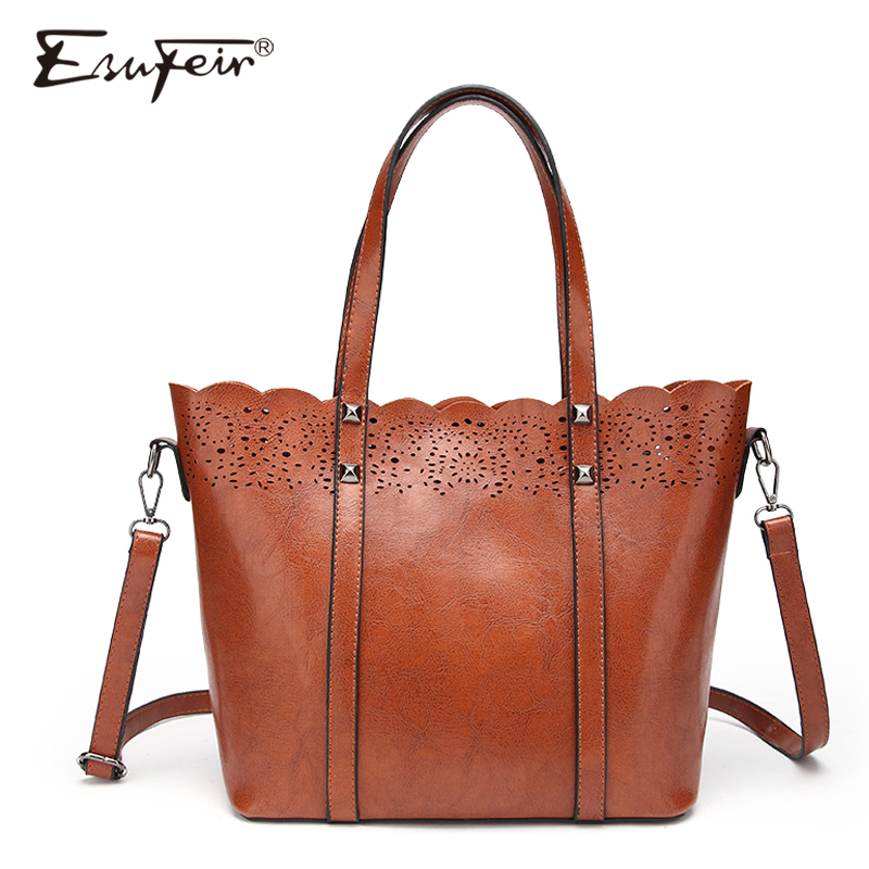 2018 ESUFEIR Brand PU Women Handbag Fashion Hollow Out Casual Tote Large Capacity Oil Wax Leather Shoulder Bag Crossbody Bag new 2017 fashion brand genuine leather women handbag europe and america oil wax leather shoulder bag casual women