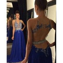 Neue Royal Blue Abendkleid Backless Abendkleid Eine Linie Chiffon-Kleid Strass Sweep Zug Formales Kleid-abend-partei