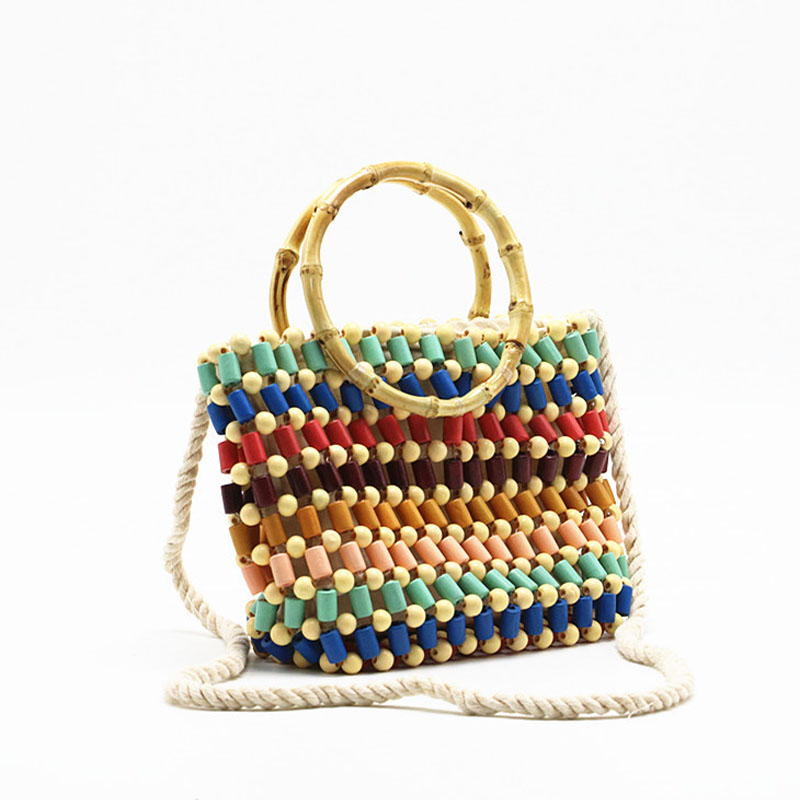 2019 New Lady Shoulder Bags Manual Weaving Color Beaded Bag Shoulder Bags Fashion Lady Summer Travel Bohemia Casual Handbag in Shoulder Bags from Luggage Bags