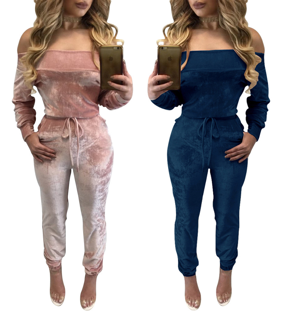 2018 Elegant Off Shoulder Velvet Jumpsuit Women Sexy Overalls Casual
