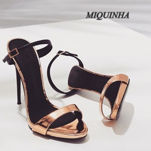 ФОТО temperament golden thin high heel women sandals open toe buckle single ankle strap shoes party dress shoes