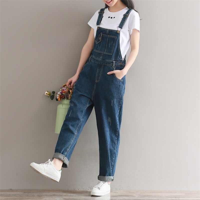 Для женщин джинсовый комбинезон красивый классический Винтаж одноцветное свободный крой потертые джинсы комбинезоны комбинезон Vaqueros для женщин J79