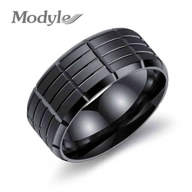 0ef92ed0167d Modyle New Men s Black Rock Punk Stainless Steel Rings Cool Fashion  Individuality Ring for Men