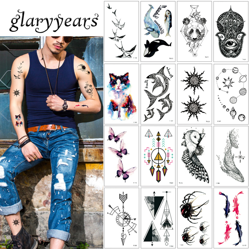 Glaryyears 5 Pieces/set Tiny Watercolor Animal Tattoo T Geometry Beauty Small Image Decal Temporary Body Tattoo Sticker Fake New