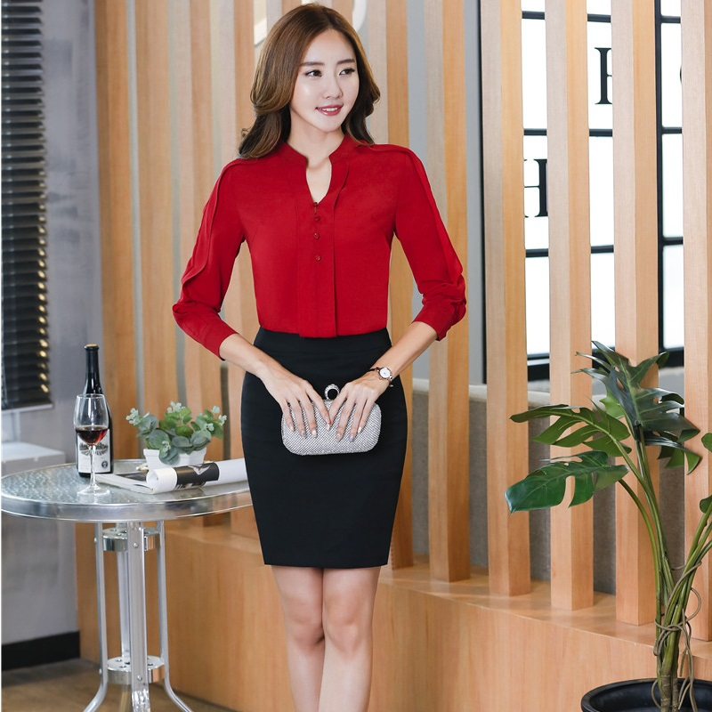 Slim Fashion Professional Office Suits With 2 Piece Tops And Skirt For Women Business Blouses Skirt Suits Outfits Plus Size